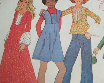 Vintage 70s Girls Dress and Shirt Pattern - McCalls 5397 - Girls Bohemian Cuteness - Cut -  Size 12