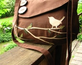 Singing Bird on a Branch Shoulder Bag /Purse /Messenger/  Tote /Ultra Suede Applique/ 17 Colors Available