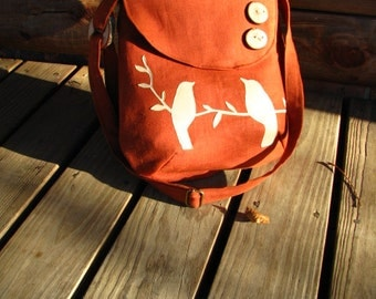 Tweeting Birds Tote / Handmade  / Canvas Tote /school bag /3 large pockets/ one interior zipper pocket/Vegan/ecofriendly