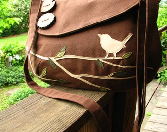 "Bird Tote, Vegan Purse, Bird Bag, , Eco-Friendly Nature Messenger, 12"" X 9""  Handmade Tote, Ultra Suede Appliquer"