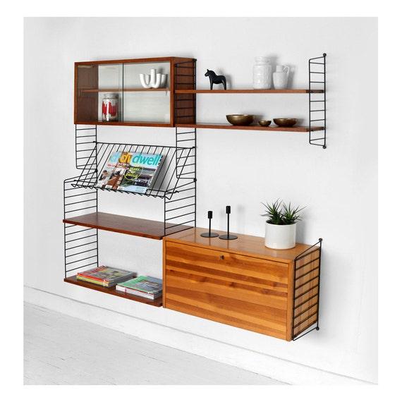 items similar to vintage string shelving unit wall mid. Black Bedroom Furniture Sets. Home Design Ideas