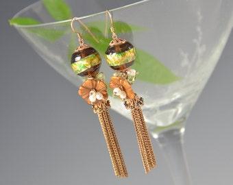 Fringe Earrings Tassel Art Glass Beaded Flower Green Pearl Dangling Pierced Boho Vintage - W2646