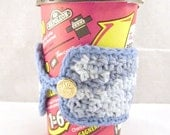 Blue Coffee Cozy, Blue Cotton Cozy, Crochet Cup Sleeve, Blue Cotton Cup Sleeve