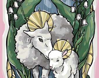 Easter Blessing - Mother Sheep and Lamb Prayer Card