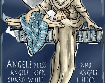 Guardian Angel for Sleep, Evening or Nighttime Prayer Card