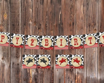 INSTANT DOWNLOAD: Cowboy Western Themed Happy Birthday banner - Print at Home