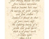 1 PETER 3:3-4 --- 11 X 14 Hand Written Calligraphy Art Print on Natural Parchment in Sepia Brown Ink Beige Coral Pink Burgundy