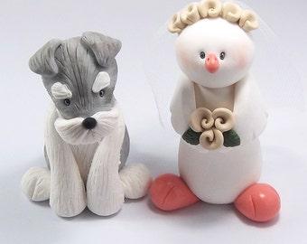 Custom Cake Topper, Schnauzer Figurine, Dove, Wedding Cake Topper, Personalized