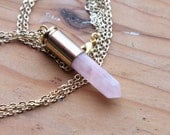 Rose Quartz Bullet Point Crystal Necklace - Gold Casing and Plated Chain, Pink Natural Crystal Drop Spike Spikes