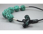 Handcrafted Necklace - Turquoise Green Nugget Choker No. 174