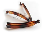 "2pcs 4""(100mm) Blank Brown Plastic Hair Barrette(Claw) with secure extra Teeth"