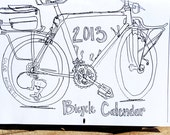 2013 Bicycle Wall Calendar / Coloring Book / Recycled Paper / Illustrations / Bike Drawings / Bike Art