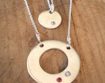 Custom Silver Mother and Daughter Necklaces