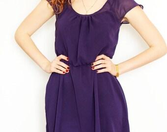 Bridesmaid Chiffon Purple Dress,  Ready made,  Custom, Flowergirl Dress