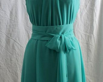 Women's dress, bridesmaid , wedding guest, reception dress, Ligth Green, menthol green, short dress Chiffon