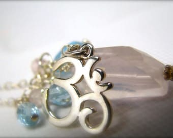 ohm necklace ohm charm ohm jewelry ohm pendant yoga necklace om necklace yoga jewelry ohm symbol sterling silver necklace rose quartz stone