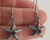 Antiqued Silver Starfish Earrings with Rose Swarovski Crystals, Silver Earrings, Swarovski Earrings