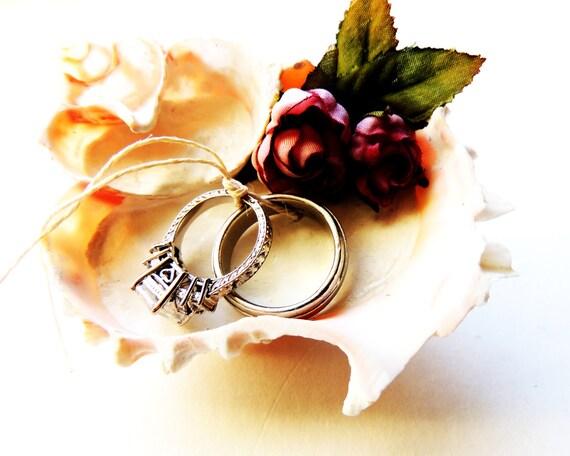 Shell Seashell Ring Bearer Wedding Ring Holder Bowl Dish Pillow Alternative Beach Destination Wedding Pink Murex