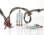 Moroccan Bohemian Earrings Rustic Patina in Aqua Turquoise, African Jewelry, Exotic Rust Rusted Metal