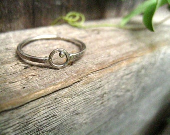 Silver Hammered Orbit Ring