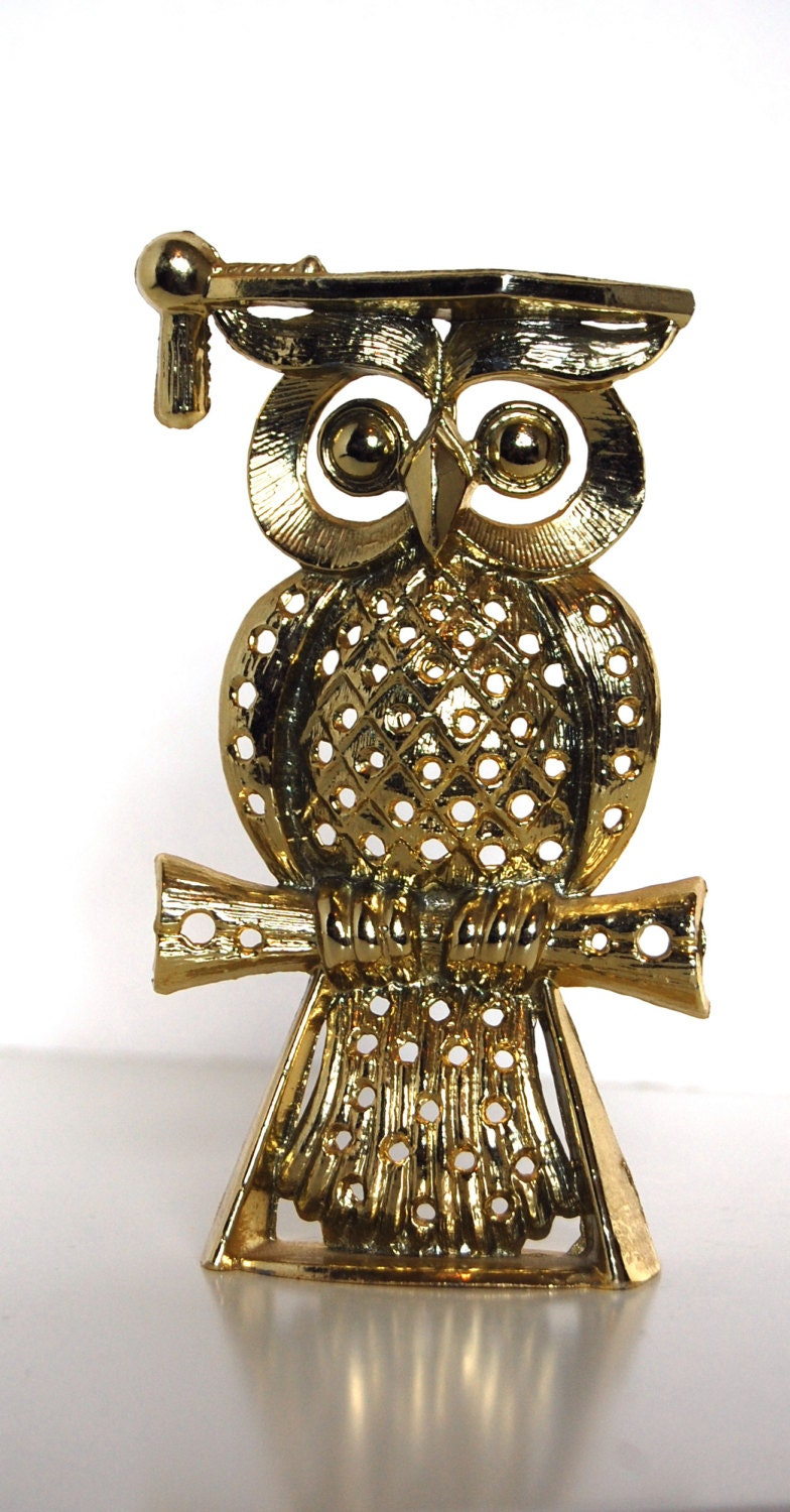 vintage owl jewelry stand earring holder by sacklunchtime