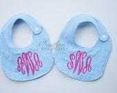 TWO Custom bibs, Personalized bib, Monogrammed bib, Baby shower gift, Seersucker bib, You Customize