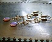 Vintage Art Nouveau Deco Glass Opal Earrings - Gold Brass