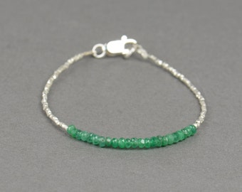 Emerald and sterling silver beads  bracelet
