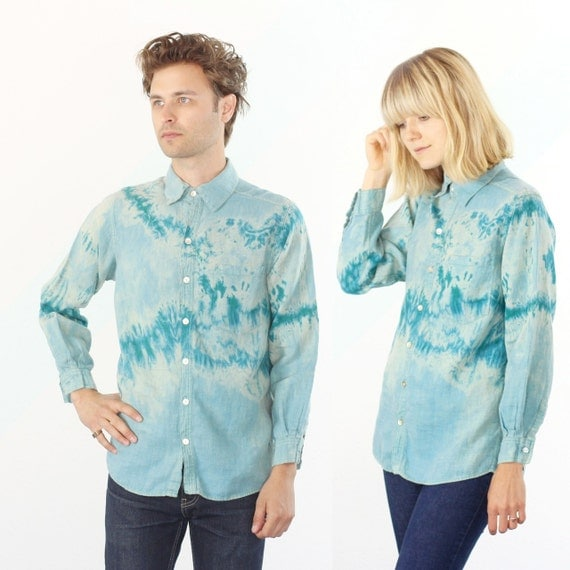Teal Marble Tie Dye Linen Button Up Shirt - S