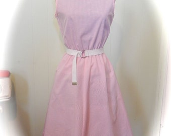 Vintage 1950s Pink Dress / 50s Pink And White Striped Dress with Belt and Swing Skirt Med - on sale