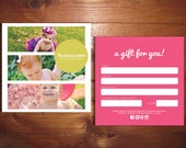 SALE Minimal IV Double sided gift certificate design - Instant download
