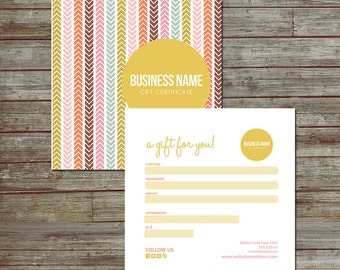 Spring direction double sided gift certificate design - Instant download
