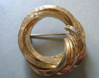 Gold Circle Swirl Brooch GROSSE Germany 1959