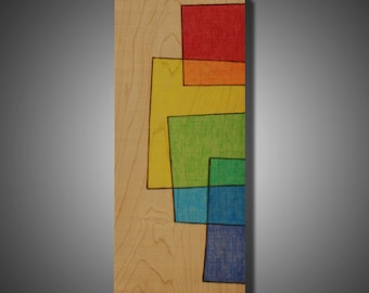 "5.5"" x 13.25"" - Original Abstract Art on Maple - Wood Burned Design Colored with Prismacolor Pencils - Modern Home Decor - ""Unbiased"""