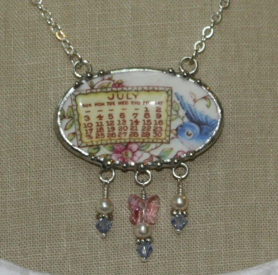 July 1921 Bluebird Calendar Plate Broken China Jewelry Necklace with Month, Bird and Roses