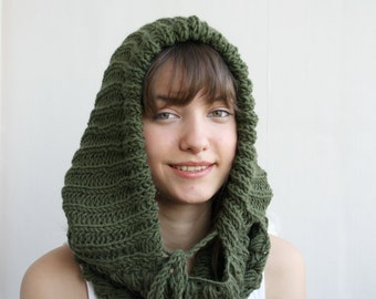 Handmade GREEN Wool Hooded  Chunky Infinity LOOP Scarf  Cowl Mothers Day gift Under USD100