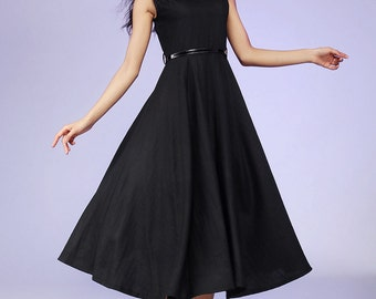 Little Black dress - women midi linen dress - LBD - 2016 spring maxi dress  - sleeveless dress - plus size available (561)