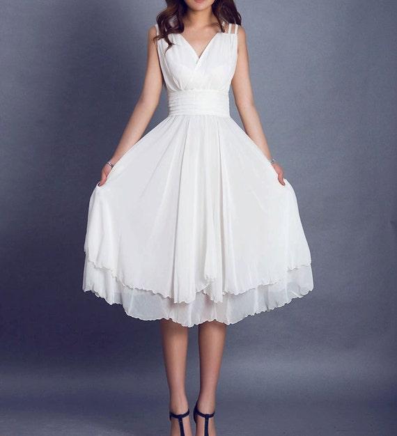 bridesmaid dress,White dress,wedding guest dress, prom dress,women maxi dress,little white dress, Custom made dress - sleeveless dress (99)