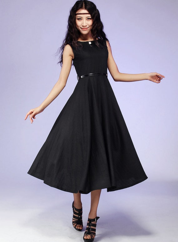 Little Black dress,LBD, Womens Dresses,midi dress, linen dress , Fall dress, maxi dress,sleeveless dress,plus size dress, Linen clothing 561