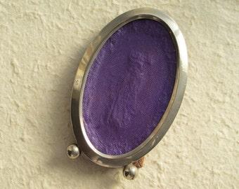 50 % Off Sale c1900 Frame Victorian Miniature Oval Silver Plate Ball Feet Shabby Faded Purple Velvet Easel Back