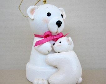 Mama Polar Bear Flowerpot Bell Ornament
