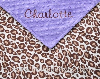 Personalized Baby Blanket - Leopard Satin and Jewel Purple Minky