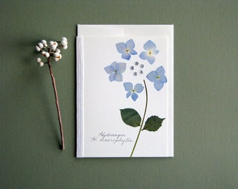 Blue Hydrangea pressed flower card, new baby, baby shower, sparkles, greeting card no.1031