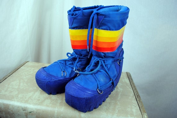 Vintage 80s Rainbow Moon Boots Size Women S 9 10 By Rogueretro
