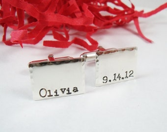 Men's Personalized Cuff Links - Sterling Silver Personalized Rectangle Cuff Links - Groom Weddings Anniversary Fathers Day