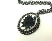 Gothic Cameo Necklace White Black Rose Pendant Dark Silver Gunmetal Jewelry