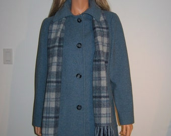 Mackintosh COAT. Vintage 1960, 1970. Gorgeous Blue Fabric with matching scarf.