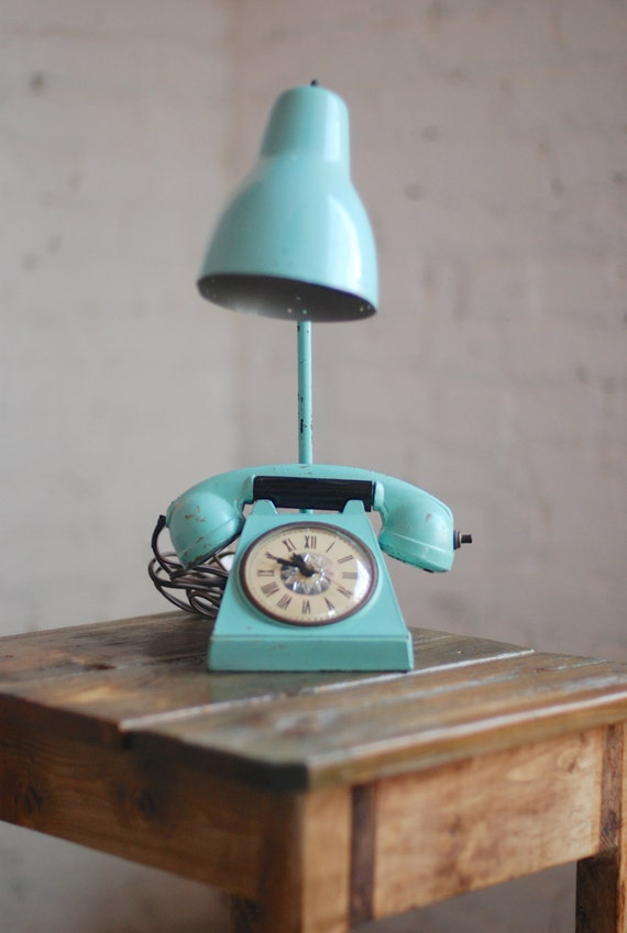 Price Drop Vintage Teal Phone Clock Lamp