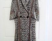 Vintage 60s leopard print robe, ladies robe, animal print, lingerie, women, nightgown, vintage lingerie, sheer, longsleeve, black velvet