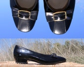 Sz 7 Vintage 60s Shoes Black Patent Leather & Bow Slip On Flats Dress Shoes by Paradise Kitten . Womens Size 7